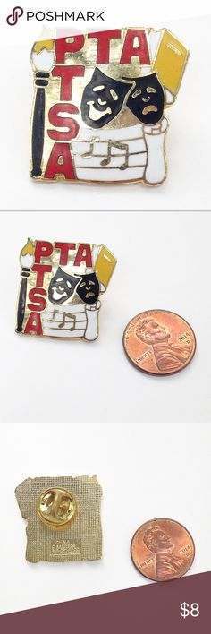 PTA Arts Pin Get your pin on!! Lapel pins are super on trend – sweet on your jean jacket or bag. PTA arts pin. Measures 1 inch. Cloisonné. Gold tone metal with butterfly clutch. Nice weight. Great for an art student, performer or proud parent. Awesome pin on its own or great addition to any collection. Break a leg! Vintage Jewelry Brooches