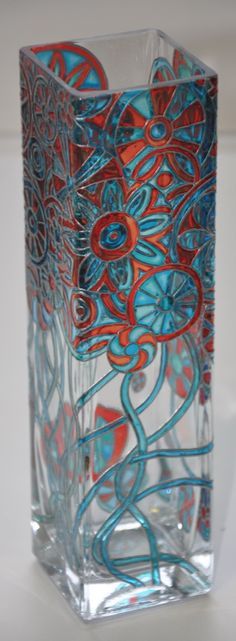 vase, painted glass