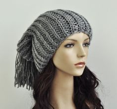 Hand knit hat -  Grey wool hat, slouchy hat,fringe hat