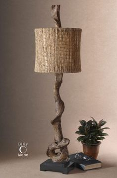 Rustic Table Lamps - This rustic table lamp has a weathered driftwood finish and matte black base. Made to look natural and nautical, the round lamp shade is made of twine with an open weave construction and beige liner. Rustic Buffet, Rustic Table Lamps, Buffet Table Lamps, Black Table Lamps, Black Lamps, Rustic Decor, Rustic Cafe, Rustic Logo, Rustic Centerpieces