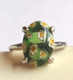 Silver Millefiori Cocktail Ring Plated Murano Style Glass Flowers Size 7.5 Green #Handmade #Cocktail