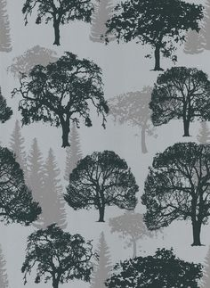 Sample of Forest Wallpaper in Silver by Brewster Home Fashions