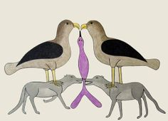 Animal Composition  by Kenojuak Ashevak  1990  coloured pentel pen & pencil