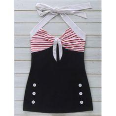 Women's Stylish Halter Polka Dot Hit Color One Piece Swimwear, BLACK, S in One-Pieces | DressLily.com