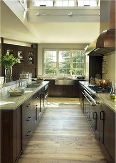 cabin kitchen - love the dark wood