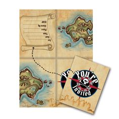 Pirates Map Diecut Foldover Invitation/Case of 48 https://www.ktsupply.com/products/32786326807/Pirates-Map-Diecut-Foldover-InvitationCase-of-48.html