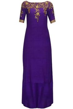 511fe4b207f05 Hand Embroidered Stylish Pure Silk Suit in Purple Color Kurta Palazzo