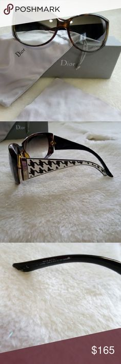 Christion dior chevron sunglasses Brown framing with chevron design. Comes with case, dust bag, cleaning cloth. 100% authentic no scratches Christian Dior Accessories Sunglasses
