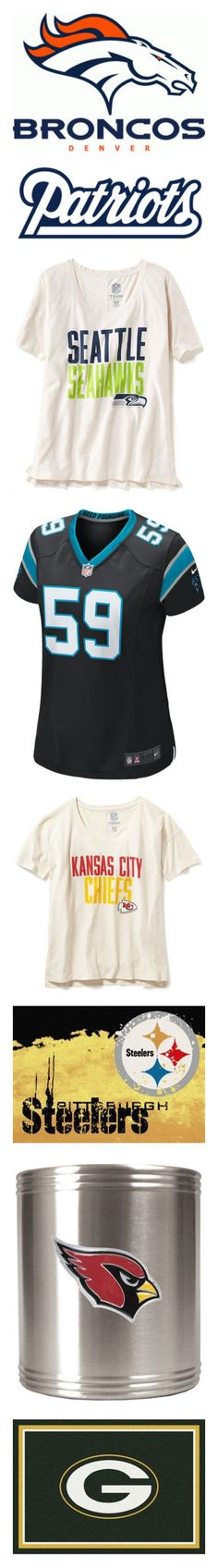"""""""NFL Divisional Round"""" by vanessa-stegall ❤ liked on Polyvore featuring sport, tops, t-shirts, white tee, short sleeve t shirt, white scoop neck tee, white t shirt, logo t shirts, black jersey and nike jerseys"""