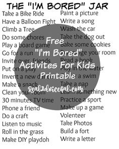 "Get ready for Summer and make sure your kids are entertained. Check out this Summer is upon us! Stop summer bordem in it's track with this FREE ""I'm Bored"" Jar Printable For Kids"