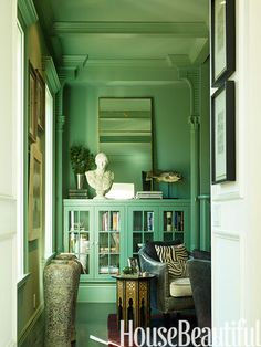 Spring green library. Design: Ken Fulk. Photo: Matthew Millman. housebeautiful.com. #library #green #antiques