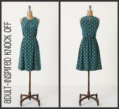 DIY Anthropologie Dress Knock Off - FREE Sewing Tutorial inspired from that picture Sewing Patterns Free, Free Sewing, Clothing Patterns, Dress Patterns, Dress Tutorials, Sewing Tutorials, Sewing Projects, Diy Clothing, Sewing Clothes