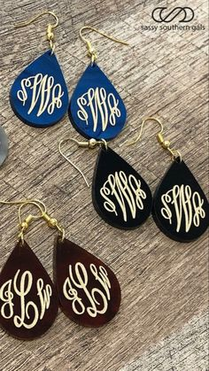 A girl can never have too many monograms! Monogram Earrings, Monogram Jewelry, Diy Earrings, Leather Earrings, Teardrop Earrings, Leather Jewelry, Wooden Earrings, Personalized Jewelry, Homemade Jewelry
