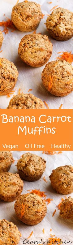 Healthy Banana Carrot Muffins are soo incredibly moist, soft and filled with banana flavor! The perfect vegan snack! Naturally sweetened + oil free! #vegan #bananabread #healthy #healthybaking #muffins #carrotcake