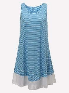 Casual Sleeveless Striped Beach Party Mini Dress For Female