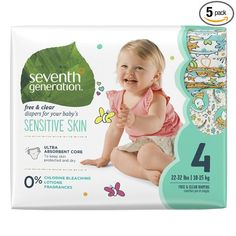 Seventh Generation Baby Diapers, Free and Clear for Sensitive Skin, with Animal Prints, Size 4, 135 Count https://www.amazon.com/dp/B0197XRSYQ/ref=as_li_ss_tl?psc=1&linkCode=ll1&tag=tore0fa-20&linkId=2ca82a53d50805e77f553c9947b6236e