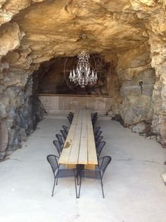 Dining in a cave by chandelier