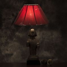 G&D_L_0039a Sculpting, Oriental, Table Lamp, Traditional, Red, Beautiful, Home Decor, Sculpture, Table Lamps