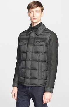 Men's Moncler 'Blais' Mixed Media Down Jacket