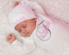 Baby Girl Custom Monogrammed Onesie or Infant Gown and Beanie Hat - Initial and Name - Newborn thru 12 months - YOU CHOOSE COLORS. $29.00, via Etsy.