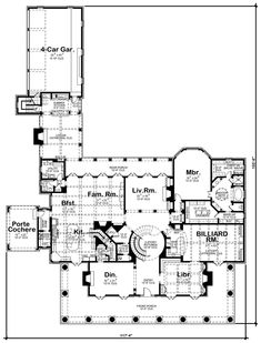 First Floor Plan of Colonial   Plantation   House Plan 66446