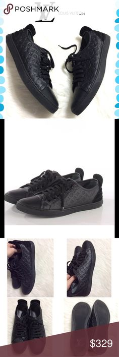 Authentic Louis Vuitton sneakers Beautiful Louis Vuitton monogram embossed calfskin punchy low top sneakers. Black leather. Very good preowned condition only worn a couple of times. They will come with Tradesy dust bag. Louis Vuitton Shoes Athletic Shoes