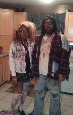 Awww, what a cute zombie couple! We have makeup, latex, prosthetics, blood and zombie attire to create this gruesome/adorable look! Zombie Costume Women, Zombie Couple Costume, Cute Couple Halloween Costumes, Scary Costumes, Halloween Costume Contest, Halloween 2018, Scary Halloween, Costume Ideas, Halloween Makeup
