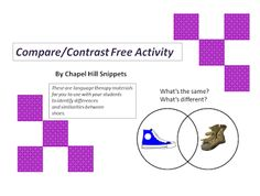 Chapel Hill Snippets: New Shoes, Old Shoes, Red shoes, Blue shoes--Free Comparing/Contrasting Printable Activity. Pinned by SOS Inc. Resources. Follow all our boards at pinterest.com/sostherapy/ for therapy resources.