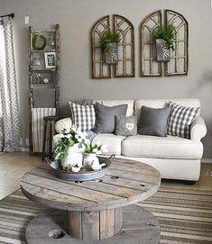 100 Best Farmhouse Living Room Decor Ideas Chic Living Room, Home Living Room, Living Room Designs, Cheap Home Decor, Decor Ideas, Decorating Ideas, 31 Ideas, Farmhouse Decor, Farmhouse Ideas