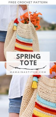 My summer necessity.a big bag. I'm constantly throwing snacks, towels, sunscreen and who knows what else into a tote and heading out the door for trips around town. When I thought about making… Crochet Mittens, Crochet Baby, Free Crochet, Knit Crochet, Crochet Pattern, Crochet Pillow, Yarn Projects, Crochet Projects, Crochet Ideas