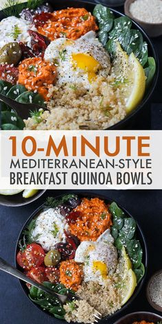 Mediterranean-Style Breakfast Quinoa Bowls & Prepped in just 10 minutes, these Mediterranean-Style Breakfast Quinoa Bowls are fast, delicious, and completely healthy! Mediterranean Diet Breakfast, Mediterranean Diet Recipes, Mediterranean Style, Mediterranean Bowls, Quinoa Breakfast Bowl, Healthy Breakfast Recipes, Healthy Recipes, Apple Breakfast, Healthy Brunch