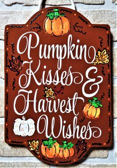 Excited to share the latest addition to my shop: PUMPKIN KISSES Harvest Wishes Autumn Fall Wall Art Door Hanger Seasonal Decor Plaque Handcrafted Crafts Halloween Thanksgiving Wood Wooden Thanksgiving Wood Crafts, Fall Crafts, Holiday Crafts, Halloween Signs, Fall Halloween, Halloween Crafts, Halloween Season, Fall Wood Signs, Fall Signs