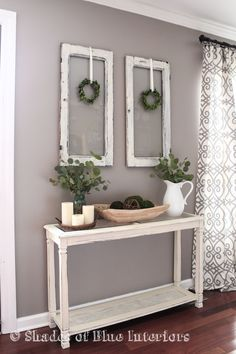 Me and New Living Room Layout Living Room decor - rustic farmhouse style with painted white console table, old window frames and simple greenery.Living Room decor - rustic farmhouse style with painted white console table, old window frames and simple gre Living Room Decor Country, New Living Room, Country Decor, Country Bedrooms, Living Room Decor Table, Copper Living Room Decor, Vintage Living Rooms, Living Room With Gray Walls, Living Room Decor Simple