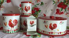 RARE Excellent Lot of Vintage 1950's Floral Farm Scene Red Rooster Tin Decoware | eBay