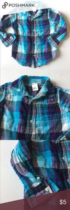 Gymboree 3T long sleeve, button down shirt Gymboree 100% cotton collared, long sleeve button down shirt. Pocket in the front. Purple and blue colors. Re-poshed item, still good condition. 3T in size.  Great for Fall! Shirts & Tops Button Down Shirts