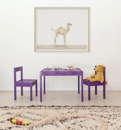 Painted Ikea table & chairs + artwork // I love the simplicity of this space and I love the cute, bright table and chairs...