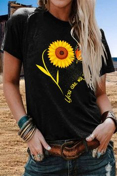 Sunflower Print Paneled Short Sleeves Casual Crew Neck T-shirt - Shopingnova