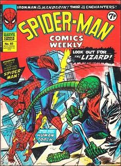 Spider-Man Comics Weekly #93. Cover by Gil Kane. #SpiderManComicsWeekly #SpiderMan #Lizard #HumanTorch #GilKane