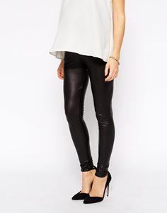 Image 4 ofASOS Maternity Leather Look Legging