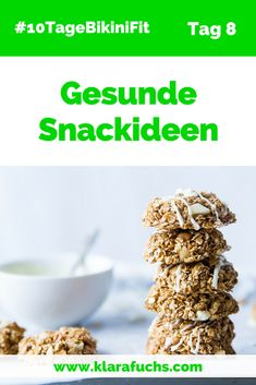Gesunde Snacks, Rezepte und Tipps. Einfache Snacksideen für zwischendurch. 10TageBikiniFit -www.klarafuchs.com #gesund #snacks 10TageBikiniFit #klarafuchs Superfoods, Cereal, Clean Eating, Healthy Recipes, Vegan, Breakfast, Tricks, Dessert, Fun