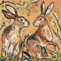 Fine Art Prints of animals, birds and naive harbour scenes - Dawn Maciocia Hare Illustration, Rabbit Art, Rabbit Totem, Bunny Art, Wow Art, Painted Paper, Whimsical Art, Textiles, Collage Art