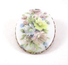 Hand #Painted #Porcelain #Brooch Pin  #Bouquet Of #Flowers by #paleorama http://etsy.me/1Q9q8AU via @Etsy #vintage