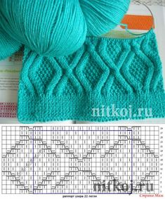 Pattern spokes from rhombuses\' the Thread - knitted things for your house, knitting by a hook, knitting by spokes, schemes of knitting // coses i llanes Cable Knitting Patterns, Knitting Stiches, Baby Hats Knitting, Knitting Charts, Lace Knitting, Knitting Designs, Knit Patterns, Knit Crochet, Clothing Hacks