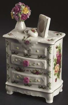 Musical Dresser in the Old Country Roses pattern by Royal Albert China