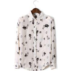 Rabbit Print Peter Pan Collar Shirt ($40) ❤ liked on Polyvore