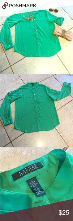 Ralph Lauren - Women's Green Blouse Sz L Ralph Lauren - Women's Green Blouse Sz L - worn only 2-3 times. No defects. Looks great with slacks, skirts or jeans. Lauren Ralph Lauren Tops Blouses