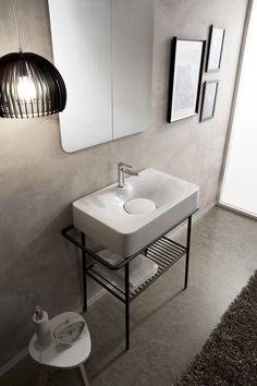 Countertop ceramic washbasin with towel rail FUJI by Scarabeo Ceramiche | #design Emo Design