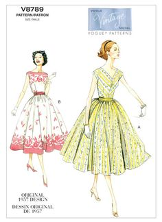 Vogue Patterns - Collections - Vintage Vogue - Page 1 Vintage Dress Patterns, Vintage Style Dresses, Dress Sewing Patterns, Vintage Sewing, Skirt Patterns, Coat Patterns, Blouse Patterns, Clothes Patterns, Dress Vintage