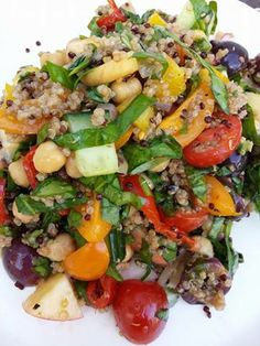 Quinoa and chickpea fruity salad.  Please find recipe here: https://www.facebook.com/photo.php?fbid=801013776577501&set=a.687064414639105.1073741827.100000066596384&type=1&theater