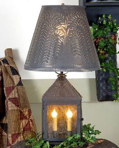 Primitive Punched Tin Candle Lantern with Willow Tree Pattern Shade Rustic Country Farmhouse Decor Handcrafted Table Lamp Light USA